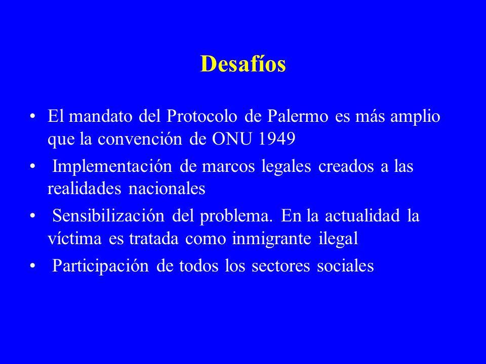 DesafíosEl mandato del Protocolo de Palermo es más amplio que la convención de ONU 1949.