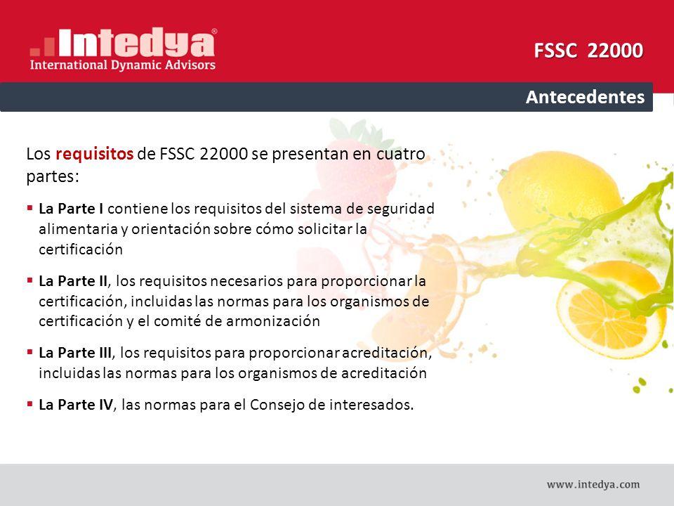 FSSC 22000 Antecedentes. Los requisitos de FSSC 22000 se presentan en cuatro partes: