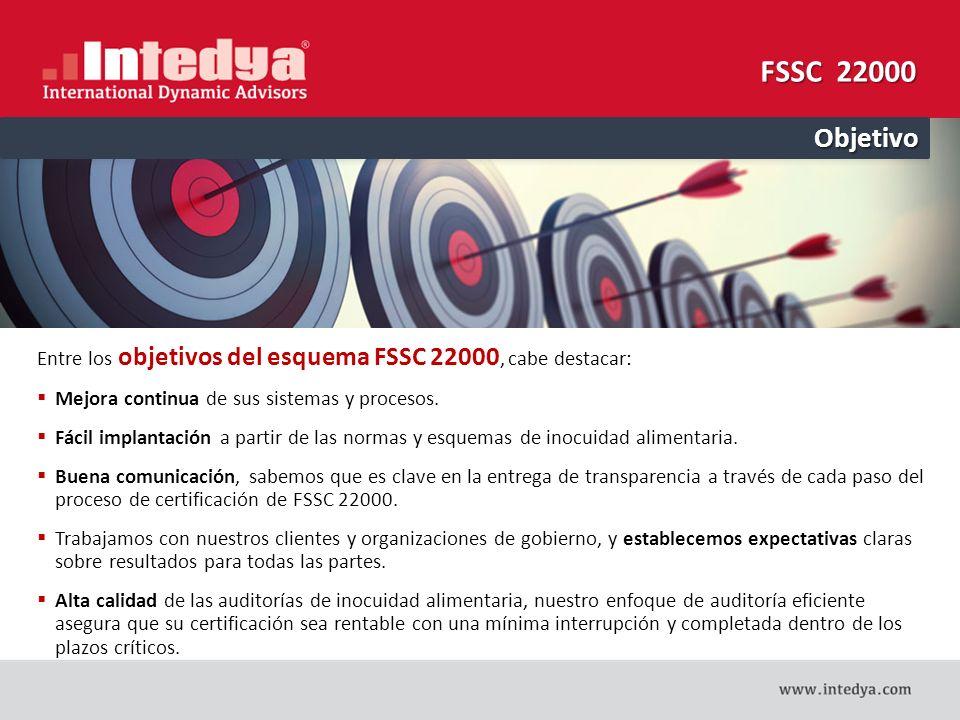 FSSC 22000 Objetivo. Entre los objetivos del esquema FSSC 22000, cabe destacar: Mejora continua de sus sistemas y procesos.