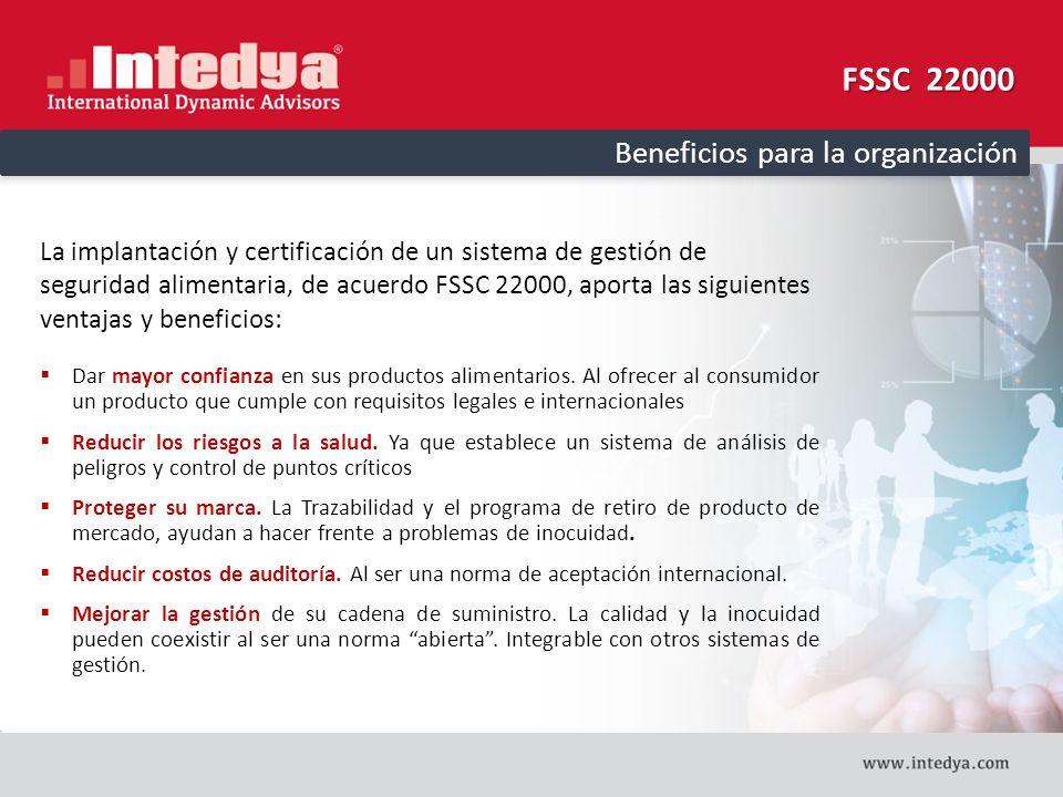 FSSC 22000 Beneficios para la organización