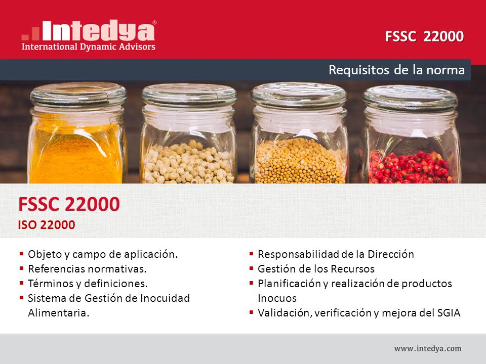 FSSC 22000 FSSC 22000 Requisitos de la norma ISO 22000