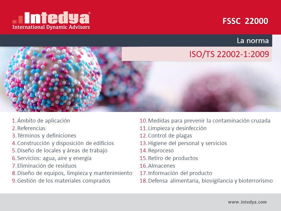 FSSC 22000 ISO/TS 22002-1:2009 La norma Ámbito de aplicación