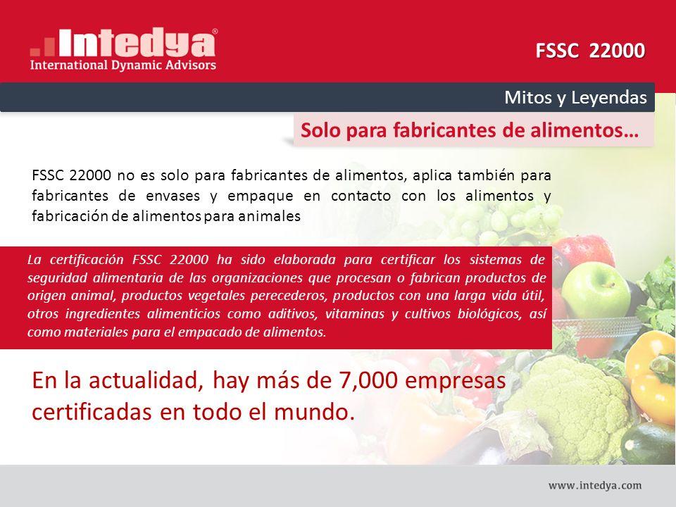 FSSC 22000 Mitos y Leyendas. Solo para fabricantes de alimentos…