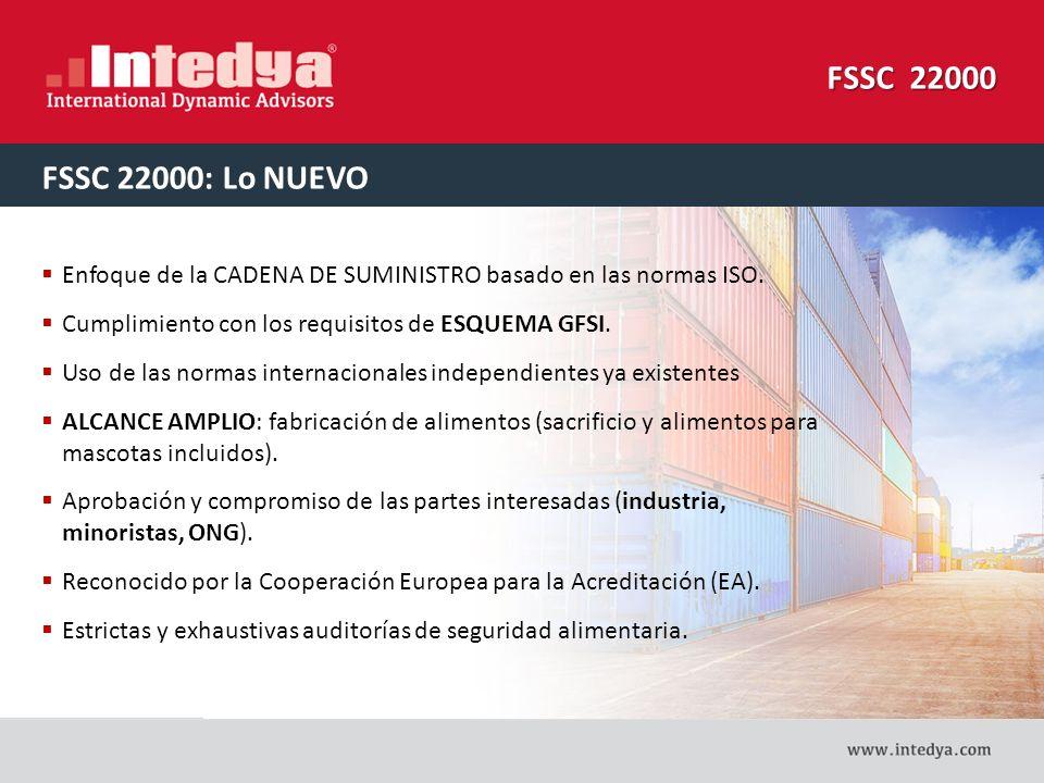 FSSC 22000 FSSC 22000: Lo NUEVO. Enfoque de la CADENA DE SUMINISTRO basado en las normas ISO. Cumplimiento con los requisitos de ESQUEMA GFSI.