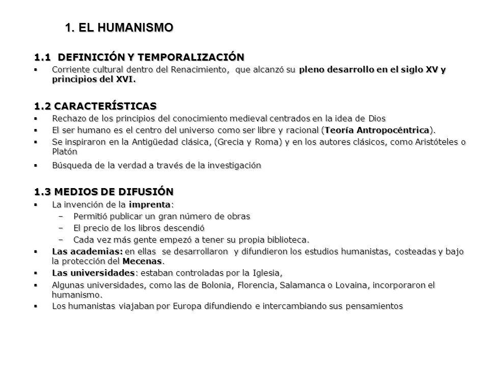 1. EL HUMANISMO 1.1 DEFINICIÓN Y TEMPORALIZACIÓN 1.2 CARACTERÍSTICAS