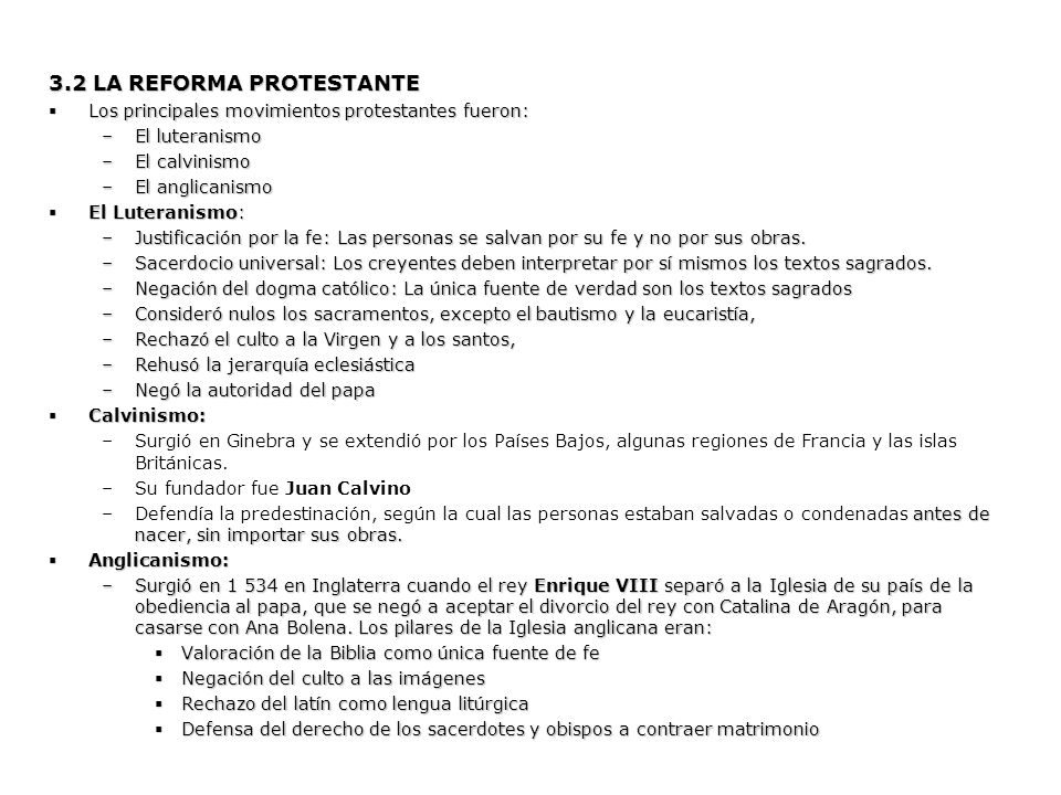 3.2 LA REFORMA PROTESTANTE