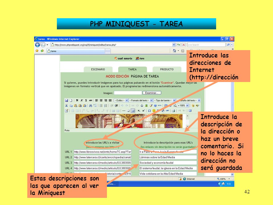 PHP MINIQUEST - TAREA Introduce las direcciones de Internet (http://dirección.