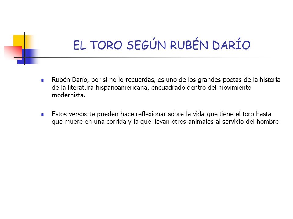 EL TORO SEGÚN RUBÉN DARÍO