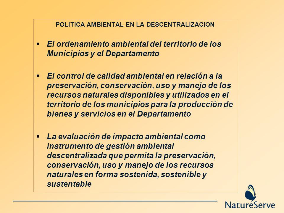 POLITICA AMBIENTAL EN LA DESCENTRALIZACION