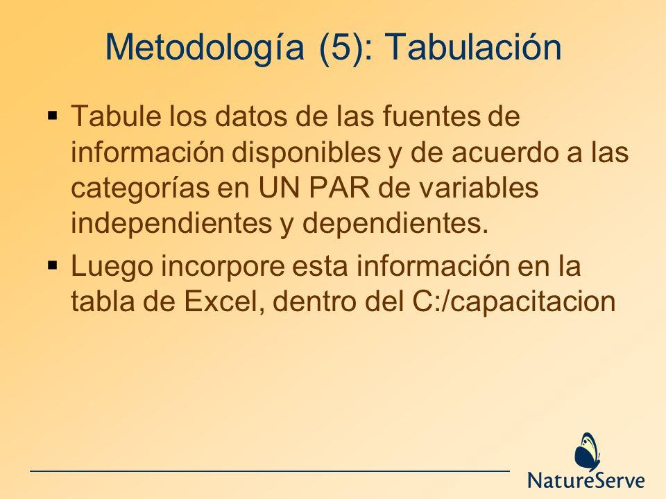 Metodología (5): Tabulación
