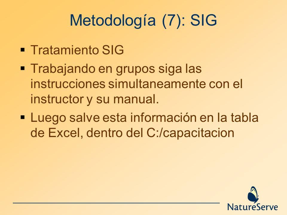 Metodología (7): SIG Tratamiento SIG