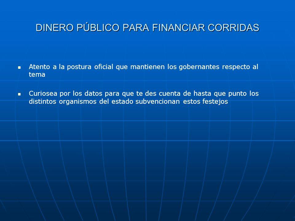 DINERO PÚBLICO PARA FINANCIAR CORRIDAS