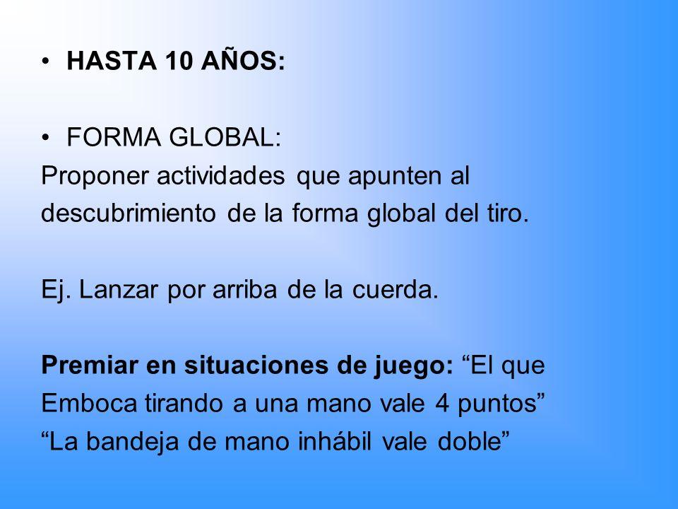 HASTA 10 AÑOS: FORMA GLOBAL: Proponer actividades que apunten al. descubrimiento de la forma global del tiro.