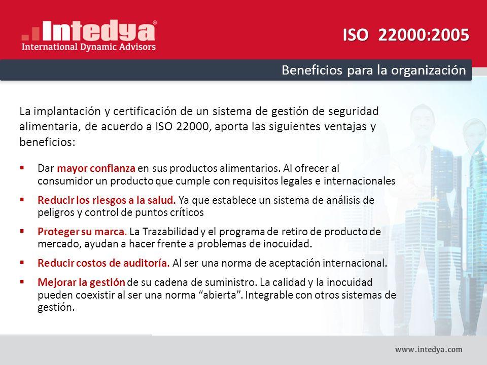 ISO 22000:2005 Beneficios para la organización