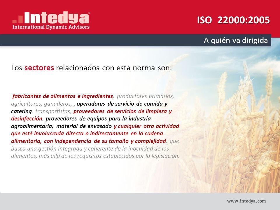 ISO 22000:2005 A quién va dirigida