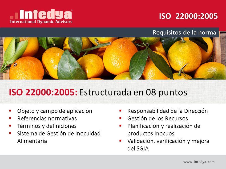 ISO 22000:2005: Estructurada en 08 puntos