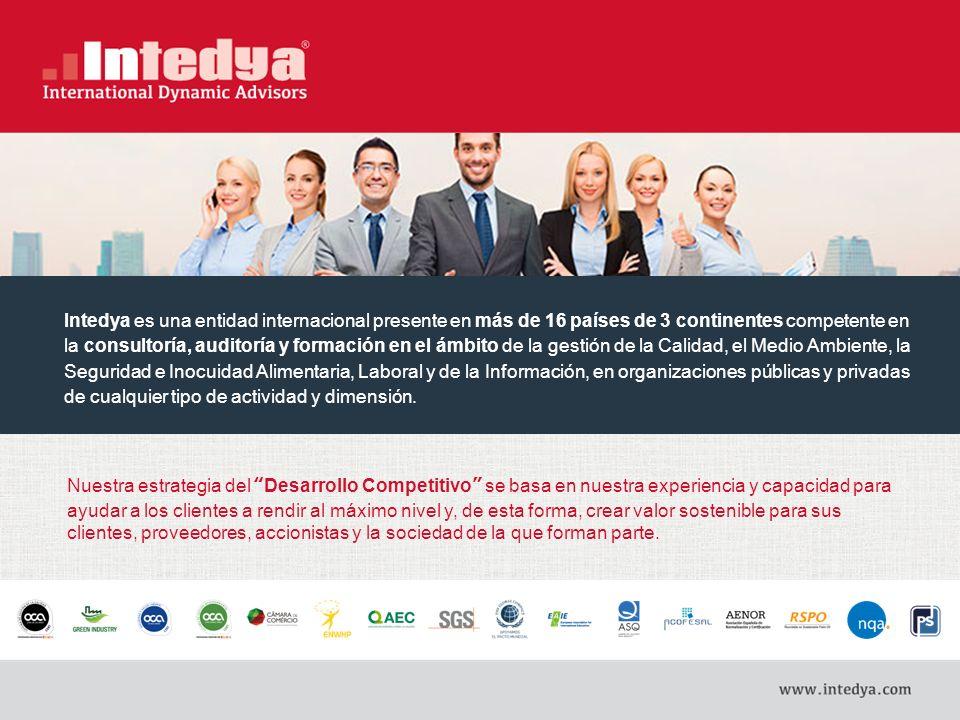 Intedya es una entidad internacional presente en más de 16 países de 3 continentes competente en la consultoría, auditoría y formación en el ámbito de la gestión de la Calidad, el Medio Ambiente, la Seguridad e Inocuidad Alimentaria, Laboral y de la Información, en organizaciones públicas y privadas de cualquier tipo de actividad y dimensión.