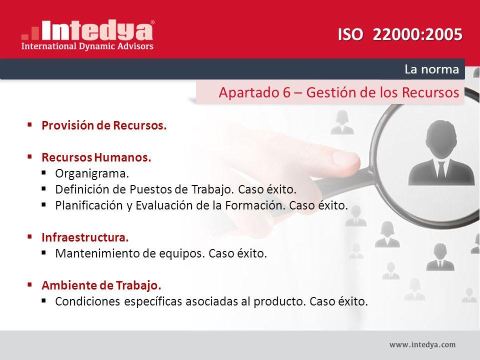 ISO 22000:2005 Apartado 6 – Gestión de los Recursos La norma