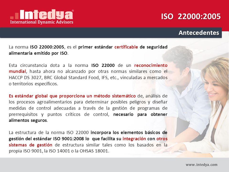 ISO 22000:2005 Antecedentes. La norma ISO 22000:2005, es el primer estándar certificable de seguridad alimentaria emitido por ISO.