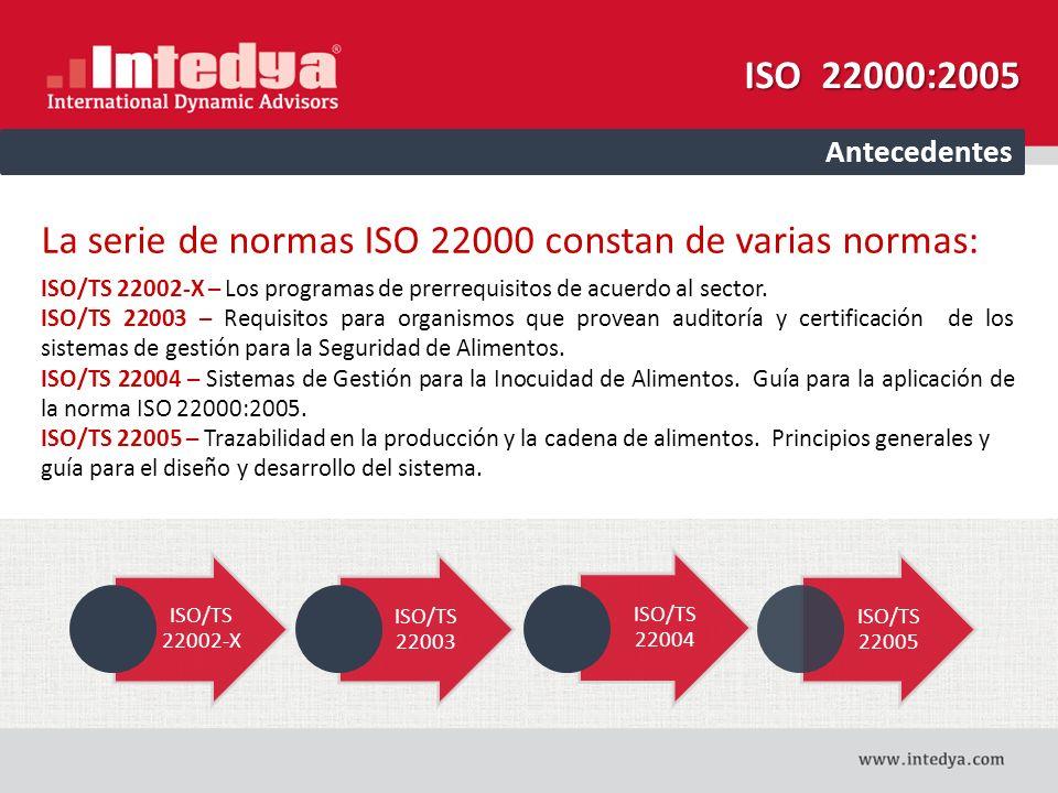 La serie de normas ISO 22000 constan de varias normas: