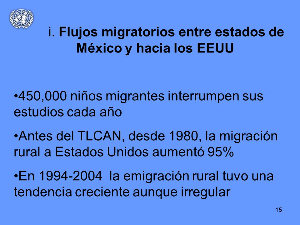 i. Flujos migratorios entre estados de México y hacia los EEUU