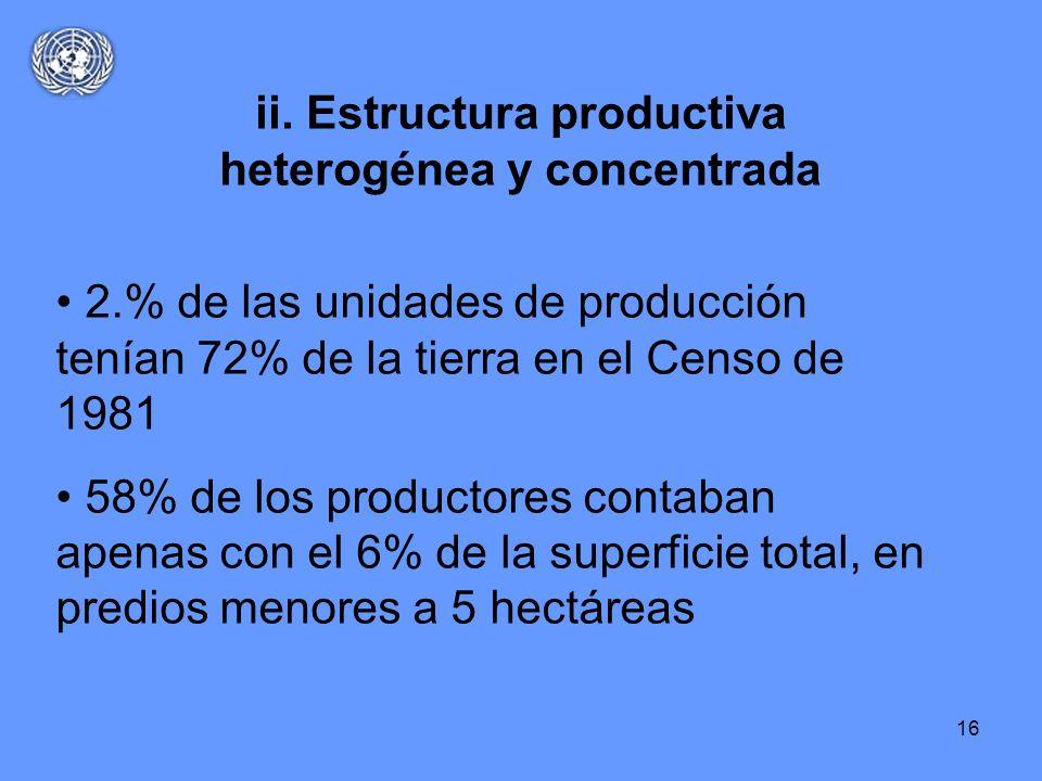 ii. Estructura productiva heterogénea y concentrada