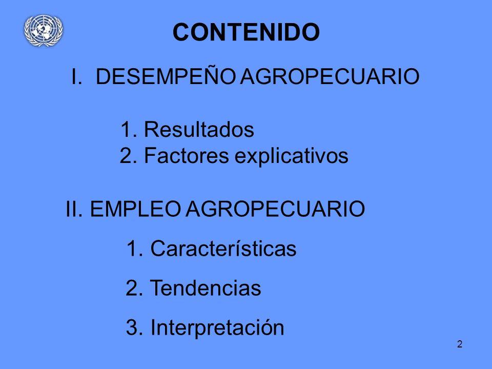CONTENIDO DESEMPEÑO AGROPECUARIO 1. Resultados