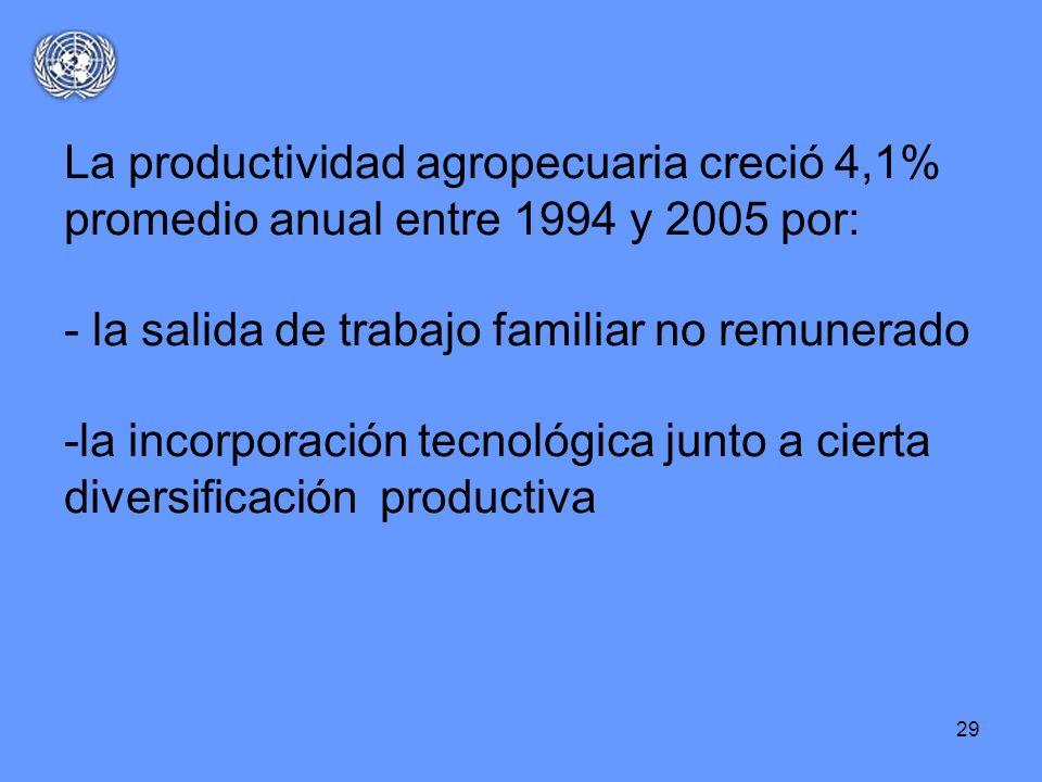 La productividad agropecuaria creció 4,1% promedio anual entre 1994 y 2005 por: