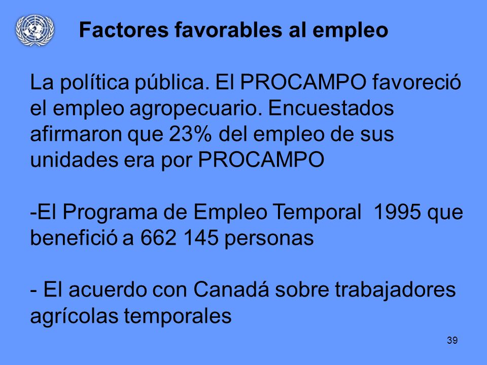 Factores favorables al empleo