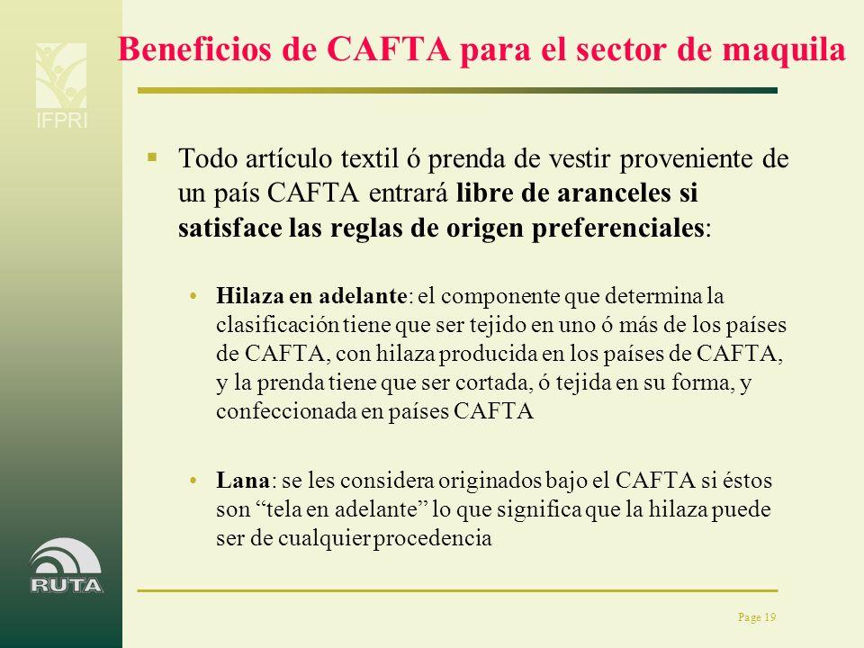 Beneficios de CAFTA para el sector de maquila