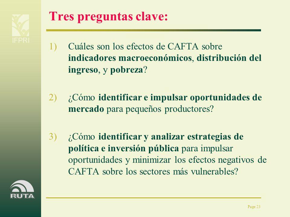 Tres preguntas clave: Cuáles son los efectos de CAFTA sobre indicadores macroeconómicos, distribución del ingreso, y pobreza