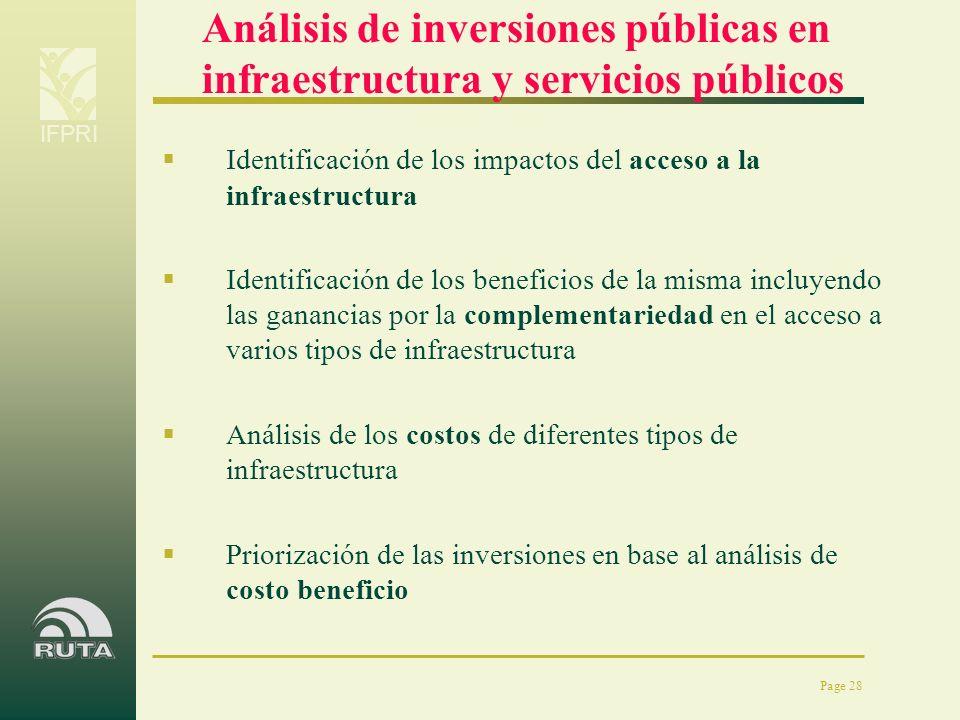 Análisis de inversiones públicas en infraestructura y servicios públicos