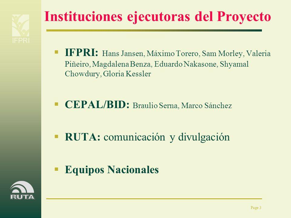 Instituciones ejecutoras del Proyecto