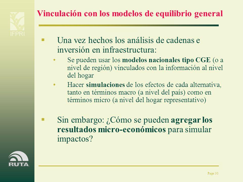 Vinculación con los modelos de equilibrio general