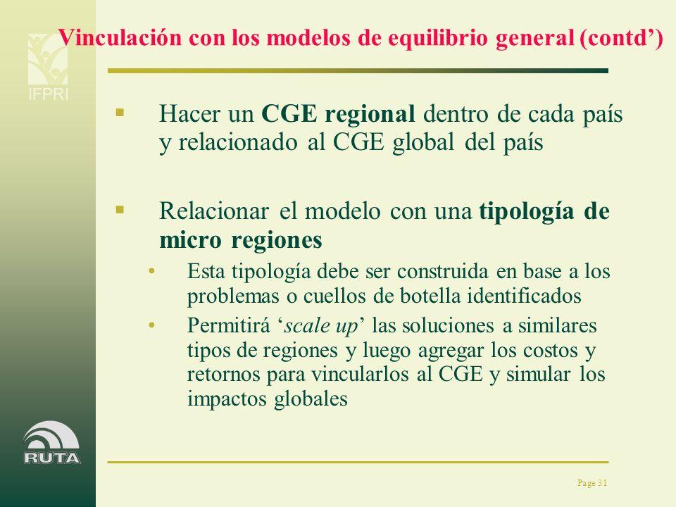 Vinculación con los modelos de equilibrio general (contd')