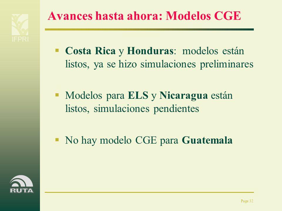 Avances hasta ahora: Modelos CGE