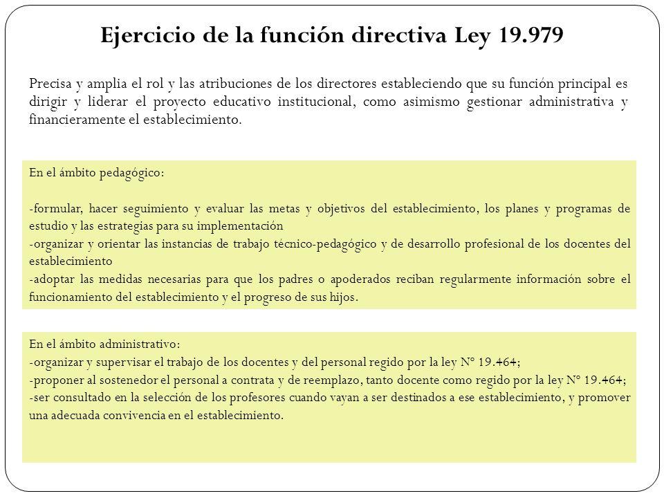 Ejercicio de la función directiva Ley 19.979