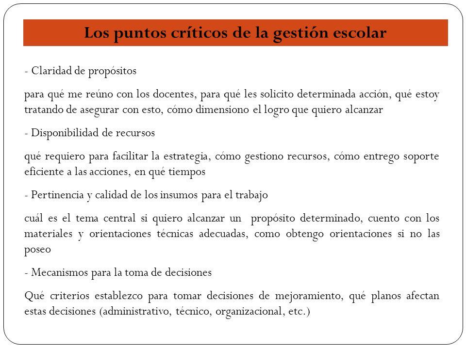 Los puntos críticos de la gestión escolar