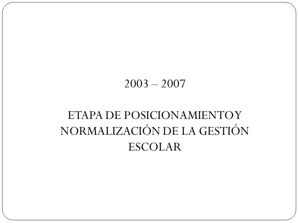 ETAPA DE POSICIONAMIENTO Y NORMALIZACIÓN DE LA GESTIÓN ESCOLAR
