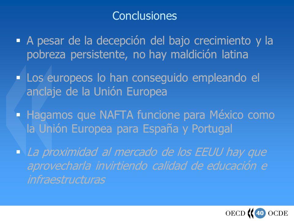 Conclusiones A pesar de la decepción del bajo crecimiento y la pobreza persistente, no hay maldición latina.