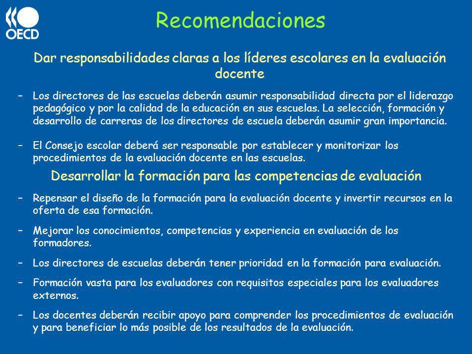 Desarrollar la formación para las competencias de evaluación