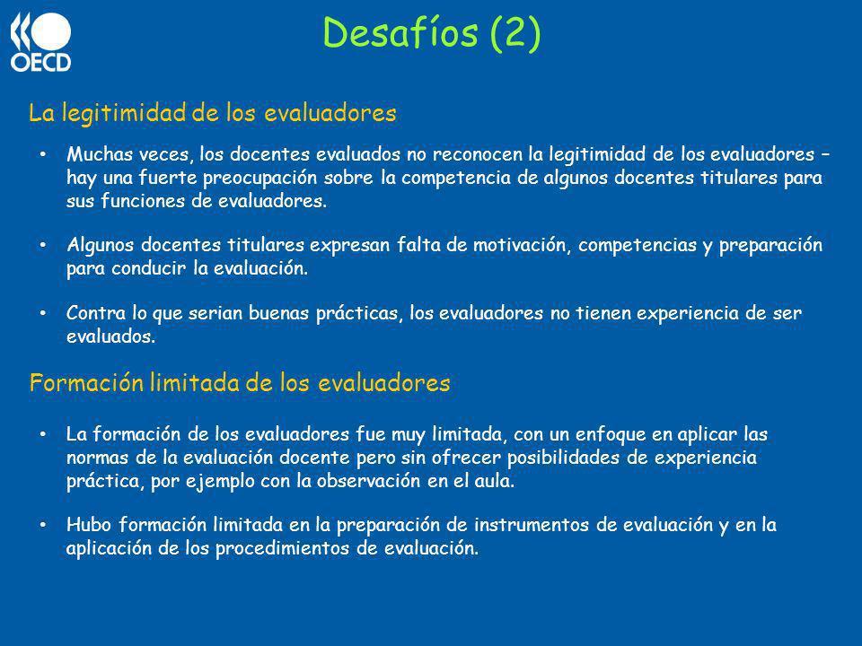 Desafíos (2) La legitimidad de los evaluadores