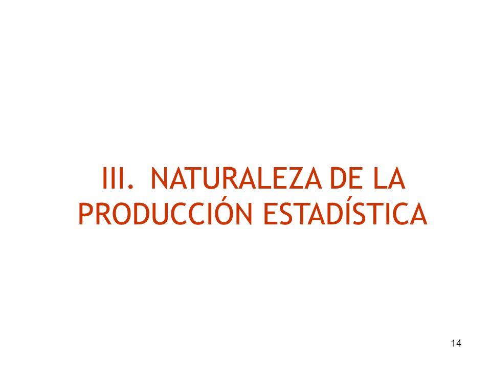III. NATURALEZA DE LA PRODUCCIÓN ESTADÍSTICA