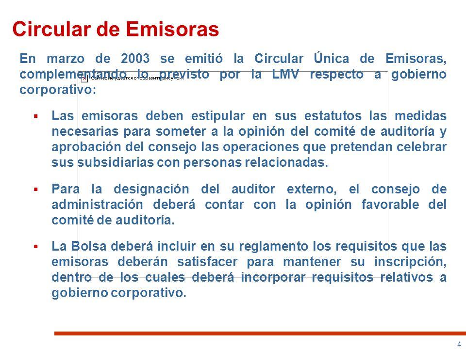 Circular de EmisorasEn marzo de 2003 se emitió la Circular Única de Emisoras, complementando lo previsto por la LMV respecto a gobierno corporativo: