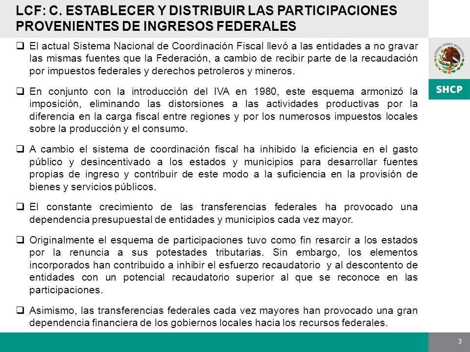 LCF: C. ESTABLECER Y DISTRIBUIR LAS PARTICIPACIONES PROVENIENTES DE INGRESOS FEDERALES