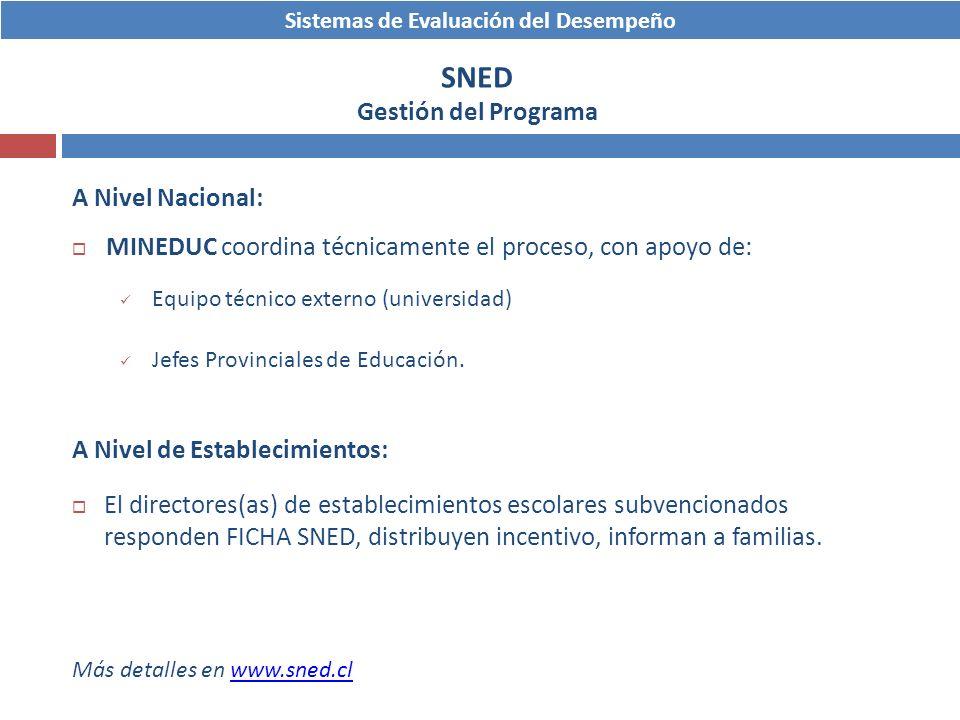 Sistemas de Evaluación del Desempeño SNED Gestión del Programa