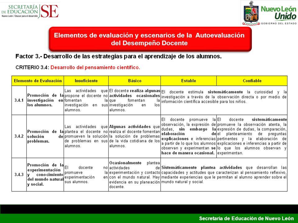 Elementos de evaluación y escenarios de la Autoevaluación del Desempeño Docente