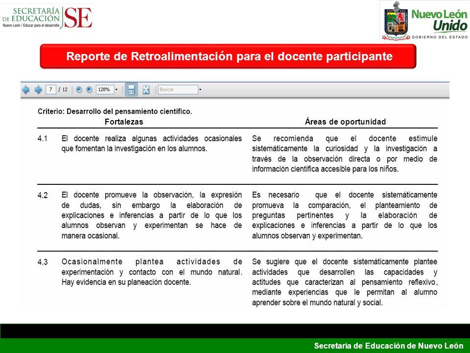 Reporte de Retroalimentación para el docente participante
