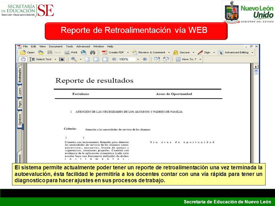 Reporte de Retroalimentación vía WEB