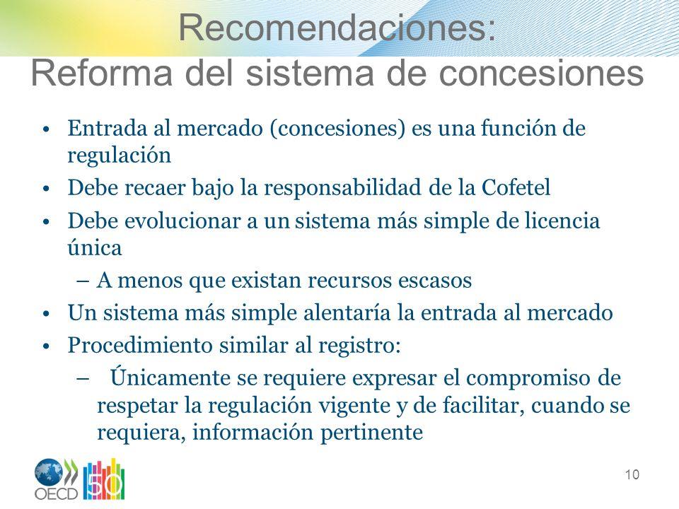 Recomendaciones: Reforma del sistema de concesiones